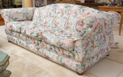 Sale 8677B - Lot 608 - A good quality three seater sofa with floral upholstery and down filled cushions, W x 220cm, D 90cm