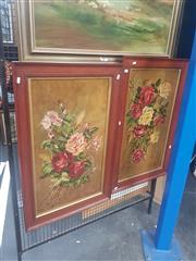 Sale 8833 - Lot 2053 - A pair of floral still life oil paintings, by a unknown artist, frame size: 96 x 56cm