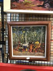Sale 8856 - Lot 2022 - Mark Pearson Villagers on the Beach oil on board, 35 x 37cm (frame) signed lower left