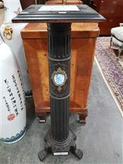 Sale 8939 - Lot 1002 - Napoleon III Ebonised & Ceramic Mounted Pedestal, with tiled top, the fluted shaft with portrait medallion & panels set to base, rai...