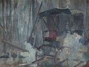Sale 9038A - Lot 5082 - Artist Unknown - The Abandoned Carriage 44.5 x 60 cm (frame: 58 x 74 x 3 cm)