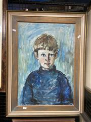Sale 9050 - Lot 2008 - Artist Unknown, Untitled, 1971 (Blue Boy), oil on canvas on board, frame: 76 x 57 cm, signed and dated lower right