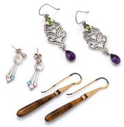 Sale 9090J - Lot 309 - THREE PAIRS OF SILVER GEMSET EARRINGS; long silver gilt drops set with pendeloque tigers eye by Gregory (in box with papers), length...