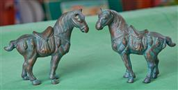 Sale 9103H - Lot 79 - A pair of Tang style bronze, green patinated horses, Height 14cm