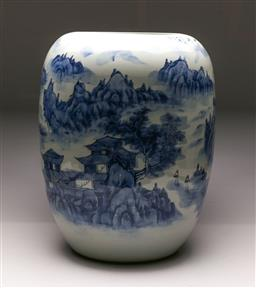 Sale 9119 - Lot 135 - A large cylindrical Chinese ceramic landscape themed vase (H:56cm)