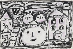 Sale 9189A - Lot 5020 - HELEN MARSHALL (1918 - 1996) 'Children from the Beginning, 1989' mixed media on paper 35 x 52.5 cm (frame: 65 x 82 x 3 cm) signed lo.