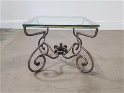 Sale 9255 - Lot 1364 - Wrought iron glass top sidetable (h47 x w60 x d60cm)