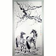Sale 8244 - Lot 95 - Xu Beihong Signed Watercolour Scroll of Horses