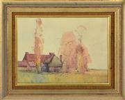 Sale 8374 - Lot 570 - Sydney Long (1871 - 1955) - Farmhouse, 1913 23.5 x 32cm