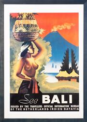 Sale 8517A - Lot 21 - A See Bali, Issues by the Travellers Official Information Bureau of the Netherlands, Indies Batavia, travel poster, 84 x 58cm