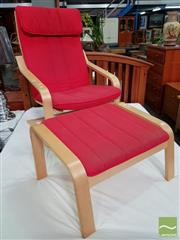 Sale 8550 - Lot 1425 - Bentwood Armchair with Stool