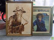 Sale 8561 - Lot 2087 - 2 Works: Lau Old Man Smoking Acrylic on Canvas Board SLR & Oriental Gent Smiling Acrylic on Board SLL