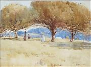 Sale 8722 - Lot 554 - Isabel McWhannell (1885 - 1918) - Figures Beneath the Trees 24 x 34cm