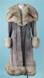 Sale 9027F - Lot 80 - A Cenci Italian Grey Suede Coat with Fox Collar and Trim,size 6-8