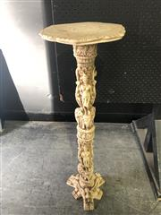 Sale 9026 - Lot 1004 - Italian Made Cast Resin Jardinere Stand Depicting Elephants and Maidens (H:85 x W:27 x D:26cm)
