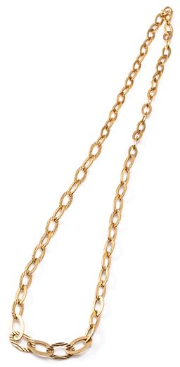 Sale 9124 - Lot 505 - AN 18CT GOLD NECKLACE; 11-19mm oval hollow flat cable links in alternating polished and textured pattern to lobster claw clasp with...
