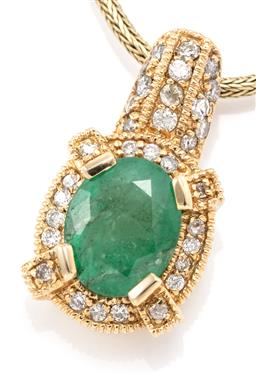 Sale 9145 - Lot 339 - A 14CT GOLD EMERALD AND DIAMOND CLUSTER PENDANT NECKLACE; centring an oval cut emerald of approx. 1.80ct to surround gallery and bal...