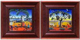 Sale 9123 - Lot 2023 - Howard William Steer (2 works) Flying Doctors over the Family Tree & Another Flying Doctor Story decorative prints, 26 x 26, each