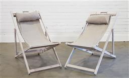 Sale 9174 - Lot 1073 - Pair of timber deck chairs (h:86 x w:57 x d:95cm)