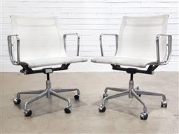 Sale 9188 - Lot 1209 - Pair of Eames aluminium group chairs with mesh seats by Herman Miller (h:85 x w:48 x d:56cm)