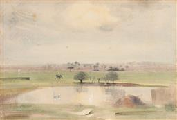 Sale 9237A - Lot 5057 - LESLIE WORTH OBE (1923 - 2009) (ENGLISH) The Pond, Early Morning,1954 mixed media (mounted/ unframed) 37 x 54 cm (mount: 60 x 76 cm)...