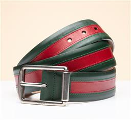 Sale 9253J - Lot 505 - A GUCCI LEATHER WEBB BELT; green and red leather trims with silver tone metal buckle, size 91-102cn, stamped GUCCI made in italy 295...