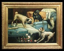 Sale 7919 - Lot 546 - Artist Unknown - Dogs in the Living Room