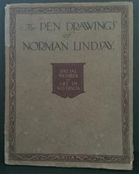 Sale 8176A - Lot 45 - Pen Drawings of Norman Lindsay. Special Number of Art in Australia. A&R 1918. Most drawings, tissue guarded, with conservation tape...