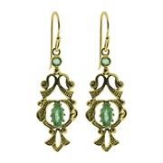 Sale 8196F - Lot 315 - A PAIR OF VICTORIAN STYLE 9CT GOLD GEMSTONE EARRINGS; each set with a round and marquise cut emerald, length 39mm.