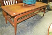 Sale 8260 - Lot 1070 - Danish Teak Coffee Table, with raised sides and rattan shelf