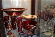 Sale 8288 - Lot 77 - Overlaid Red Glass Footed Bowl with Other Glass incl. Bohemian