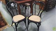 Sale 8392 - Lot 1056 - Set of Eight Black Bentwood Stacking Cafe Chairs