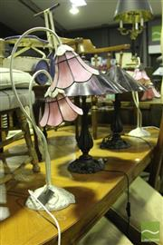 Sale 8499 - Lot 1050 - Set of 4 Leadlight Shade Table Lamps