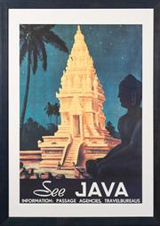 Sale 8517A - Lot 22 - A See Java, Information; Passage Agencies, Travelbureaus travel poster, 84 x 58cm