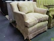 Sale 8629 - Lot 1035 - Pair of Oriental Themed Tub Chairs in Green & Cream Upholstery, Ex. Thomas Hamel