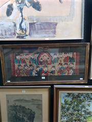 Sale 8645 - Lot 2027 - Chinese School: Yao Painting (Taoist Pantheon) gouache on paper, 35 x 73 (frame), -