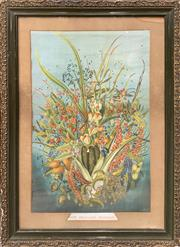 Sale 8682 - Lot 2017 - (2 works) Jessie Brown New Zealand Berries chromolithograph, 76 x 55cm (frame); Artist Unknown From Lucerne watercolour, 32 x 40cm