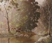 Sale 8791 - Lot 547 - Kevin Best (1932 - 2012) - Brumbies Waterhole, 1984 48 x 59.5cm