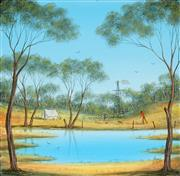 Sale 8867A - Lot 5007 - Kym Hart (1965 - ) - Camped by the Billabong 30.5 x 30.5cm