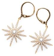 Sale 8982 - Lot 379 - A PAIR OF 18CT GOLD DIAMOND STARBURST EARRINGS; 19mm wide drops to continental fittings all set with a total of 154 round brilliant...