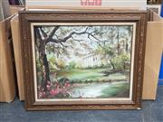Sale 9019 - Lot 2057 - House Through the Trees, oil on canvas, signed Petrina -