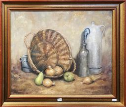 Sale 9123 - Lot 2056 - A Provincial Still Life oil painting by Unknown Artist,  63 x 72cm, signed lower right