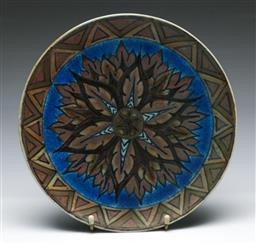 Sale 9164 - Lot 327 - An art deco Chameleon Ware Clews And Co Tunstall dish (Dia 26cm)