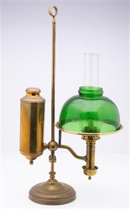 Sale 9185E - Lot 68 - A brass oil student lamp with green shade, Height 56cm