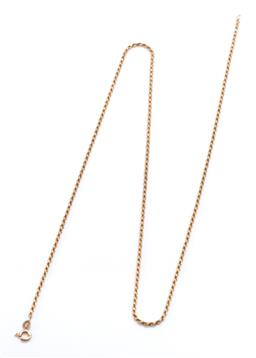 Sale 9253J - Lot 500 - A 9CT GOLD CHAIN; 1.7mm wide rope twist chain to bolt ring clasp, length 60cm, wt. 7.68g.