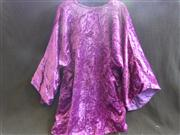 Sale 7982B - Lot 148 - Purple velveteen mini dress with big bell sleeves, fastens at the top, needs a new hook. (M)
