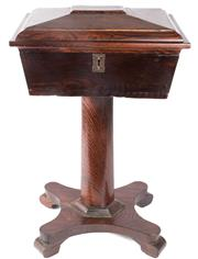 Sale 8439A - Lot 35 - A rare 19th rosewood teapoy, the hinged lid revealing a fitted interior
