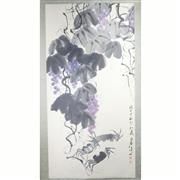 Sale 8244 - Lot 64 - Qi Baishi Signed Watercolour Scroll of Grapes & Crabs