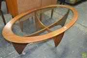 Sale 8275 - Lot 1074 - Oval G-Plan Atmos Coffee Table with Glass Top
