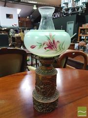 Sale 8444 - Lot 1036 - Victorian Brass Kerosene Lamp, with floral shade & double burner, embossed with hunting motifs